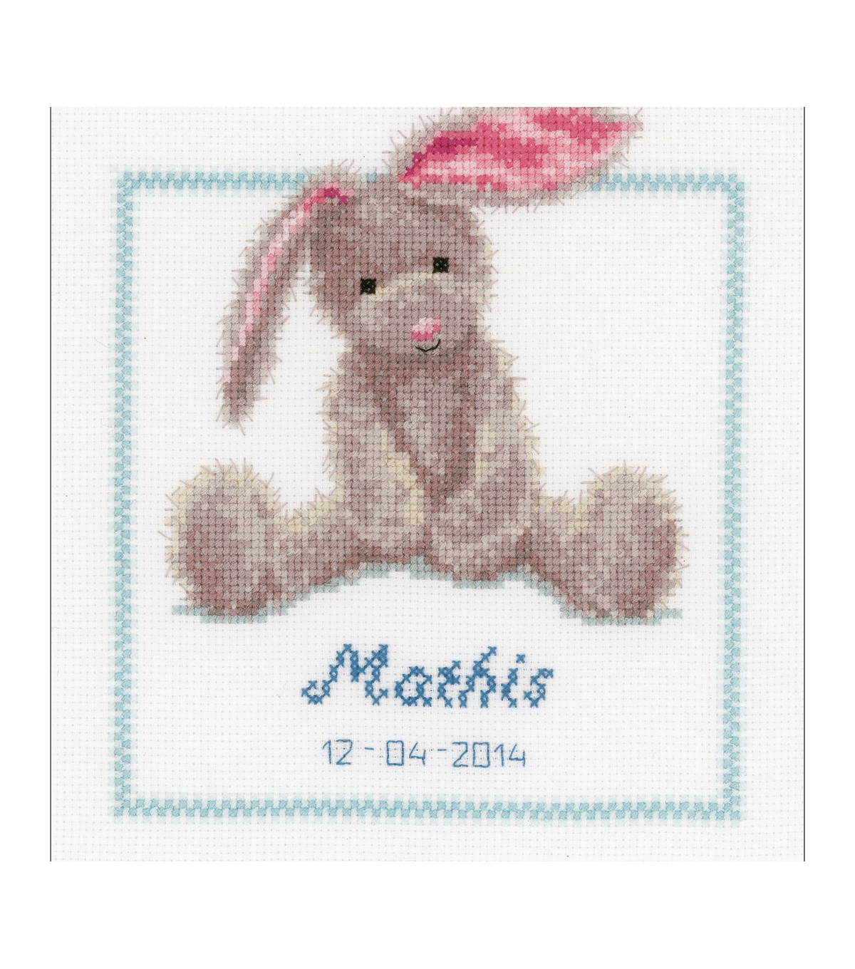 Vervaco 7.5\u0027\u0027x8.5\u0027\u0027 Counted Cross Stitch Kit-Cute Bunny Record on Aida