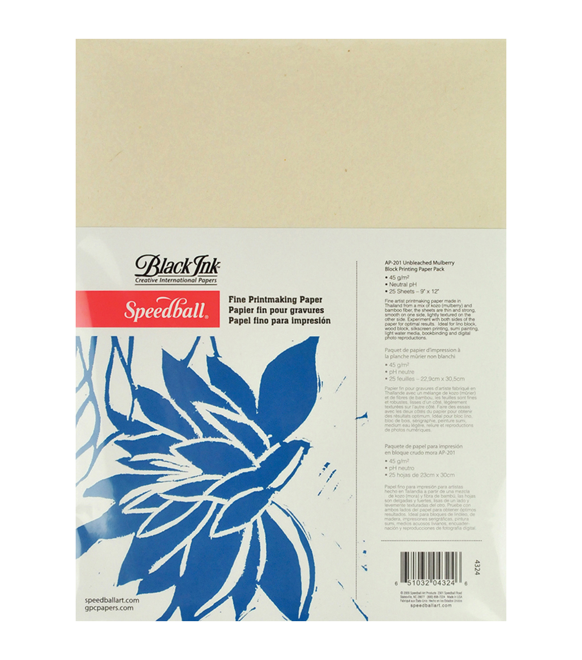 Speedball Block Printing Paper Pack 9\u0022x12\u0022 25 Sheets/Pkg-
