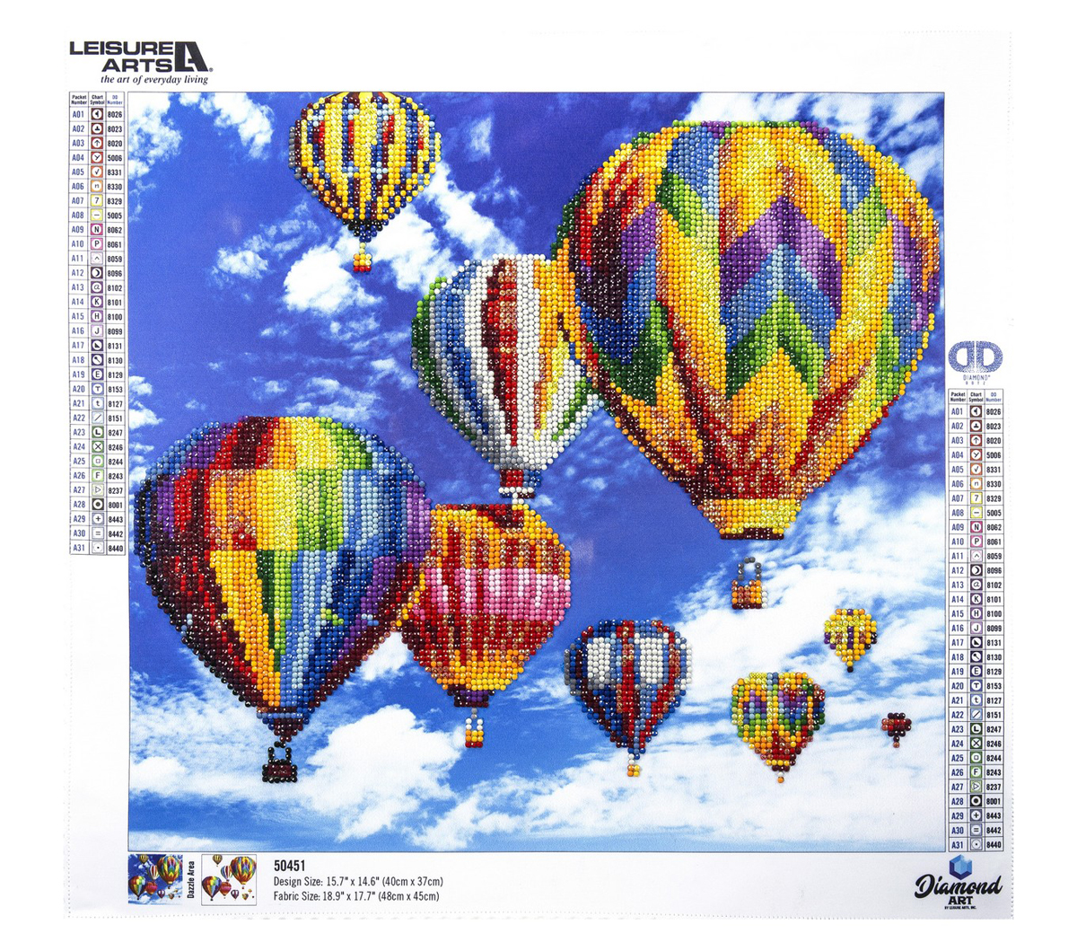 Leisure Arts Diamond Art Advanced Kit 15.75\u0027\u0027X14.57\u0027\u0027-Balloons