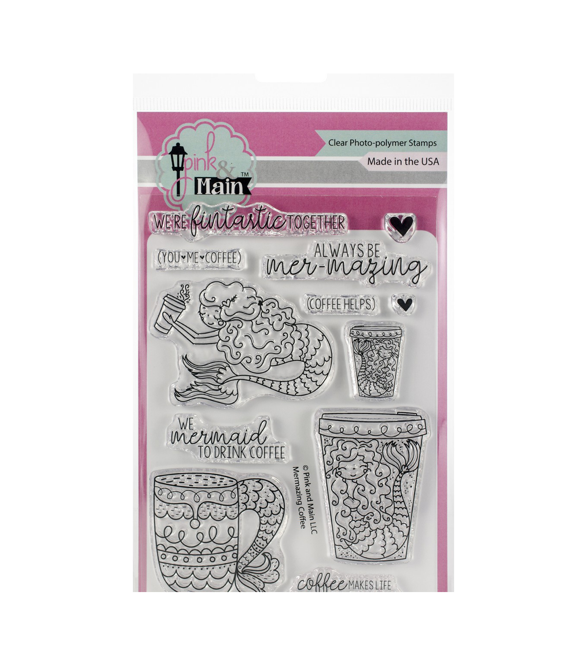 Pink & Main Clear Stamps-Mermazing Coffee