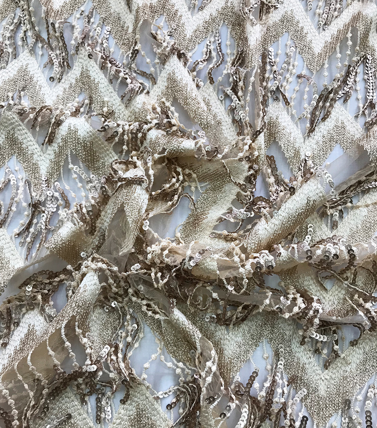 Casa Embellish Dahlia Fabric-Chevron Sequin Fringe