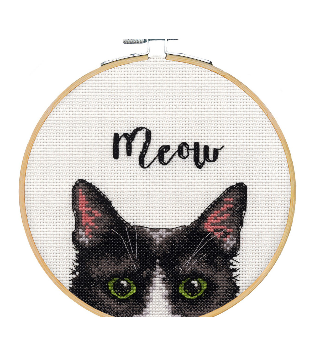 Dimensions Counted Cross Stitch Kit with Hoop 6\u0022-Meow