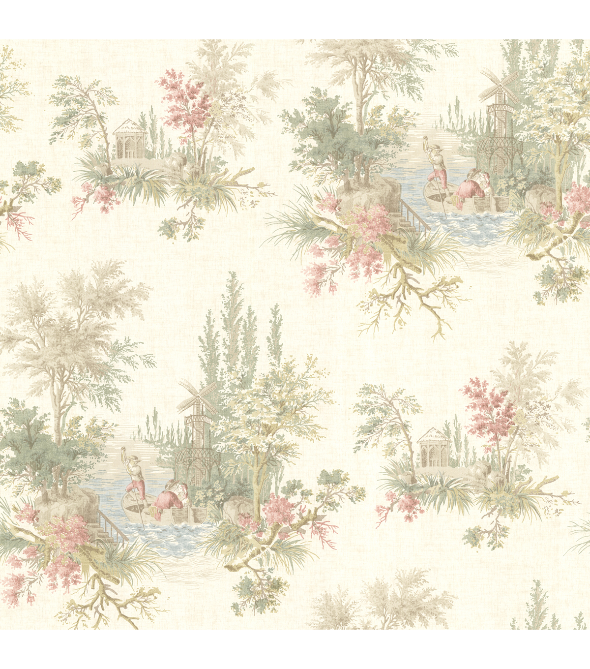 Pictorial Olive Romance Toile Wallpaper Sample