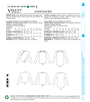 Vogue Pattern V9227 Misses\u0027 Button-Detail Tops-Size 6-8-10-12-14