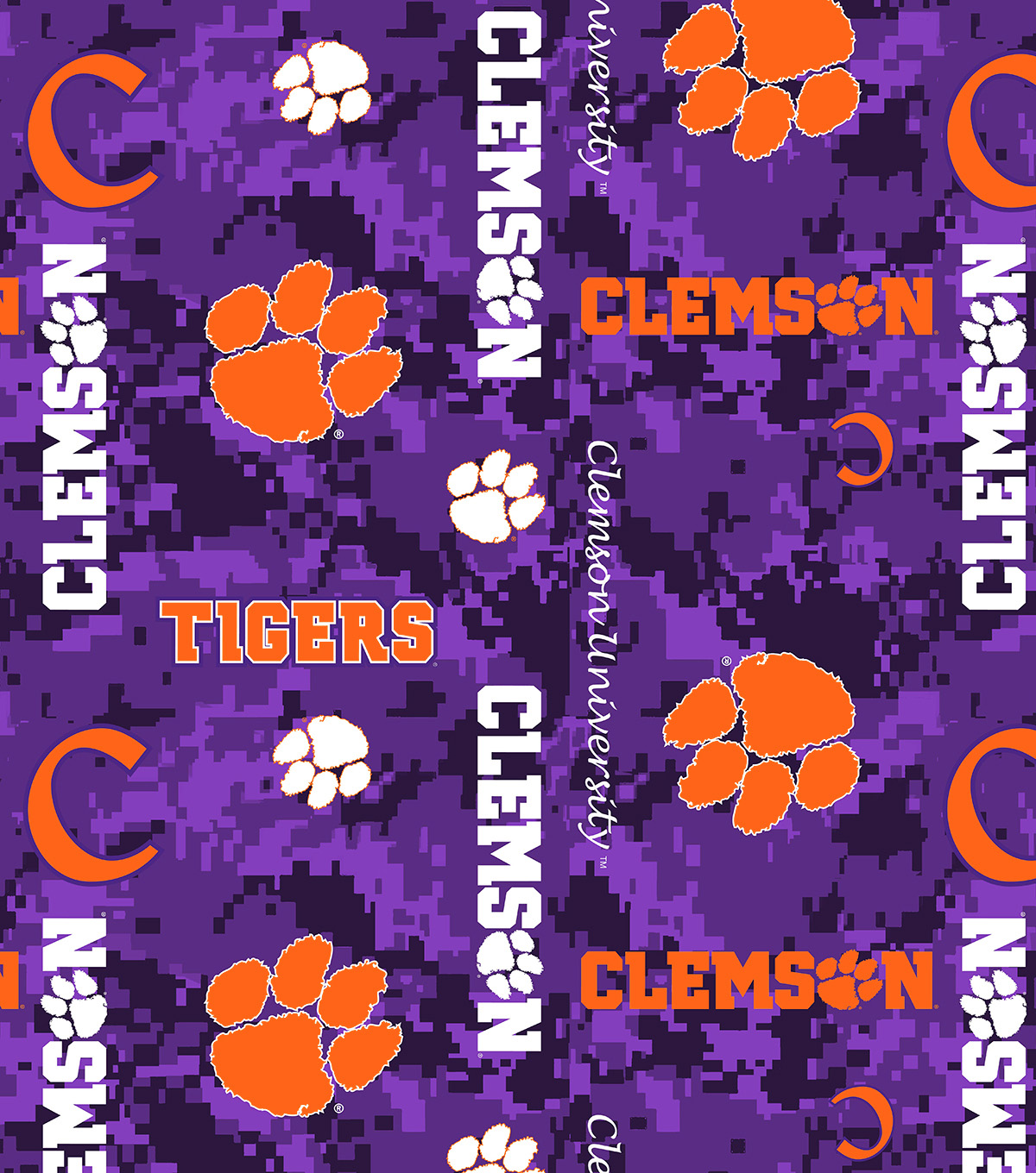 Clemson University Tigers Fleece Fabric -Digital Camo