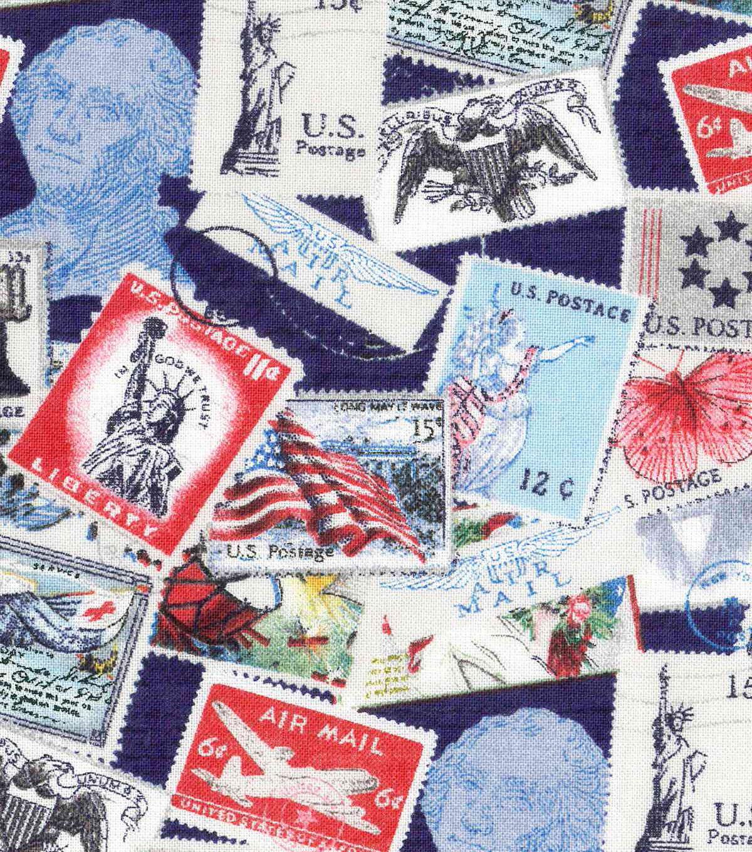 Patriotic Cotton Fabric Postage Stamps