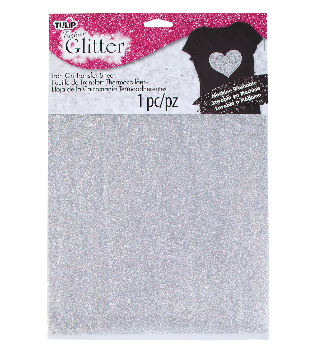 Tulip Fashion Glitter Iron-On Transfer Sheet Silver Glitter