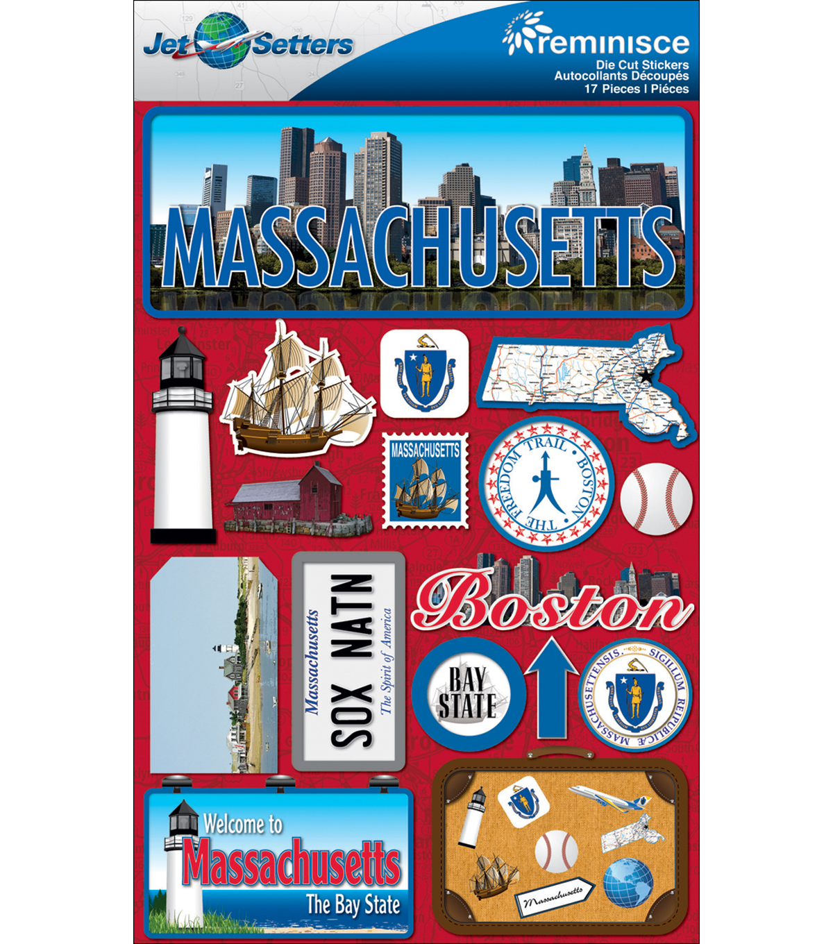 Jet Setters Dimensional Stickers-Massachusetts