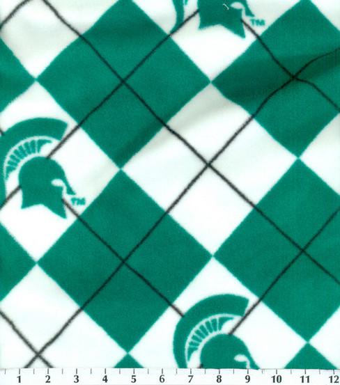 Michigan State University Spartans Fleece Fabric Argyle