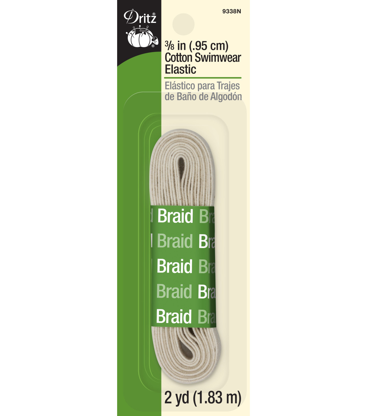 Dritz Cotton Braided Swimwear Elastic 0.38\u0027\u0027x2 yds.-Natural