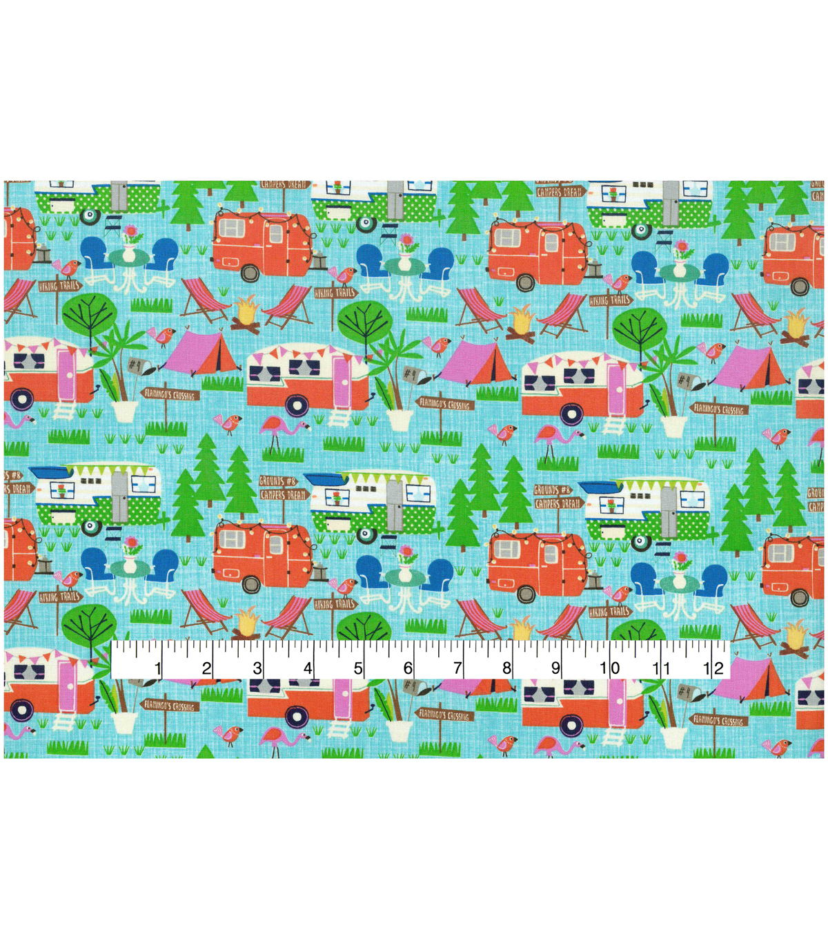 Novelty Cotton Fabric 43\u0027\u0027-Campers on Blue