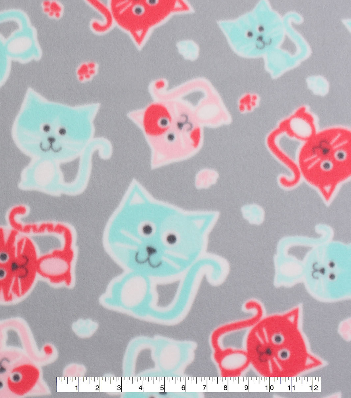Blizzard Fleece Fabric -Stamped Kitties on Gray