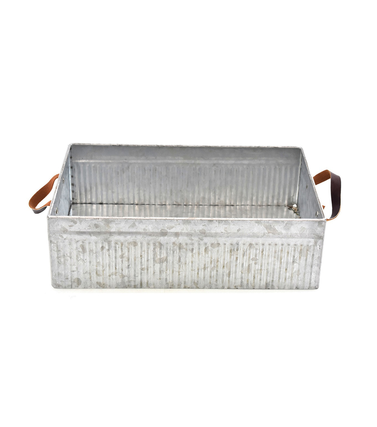 Fresh Picked Spring Square Galvanized Bucket with Leather Handles