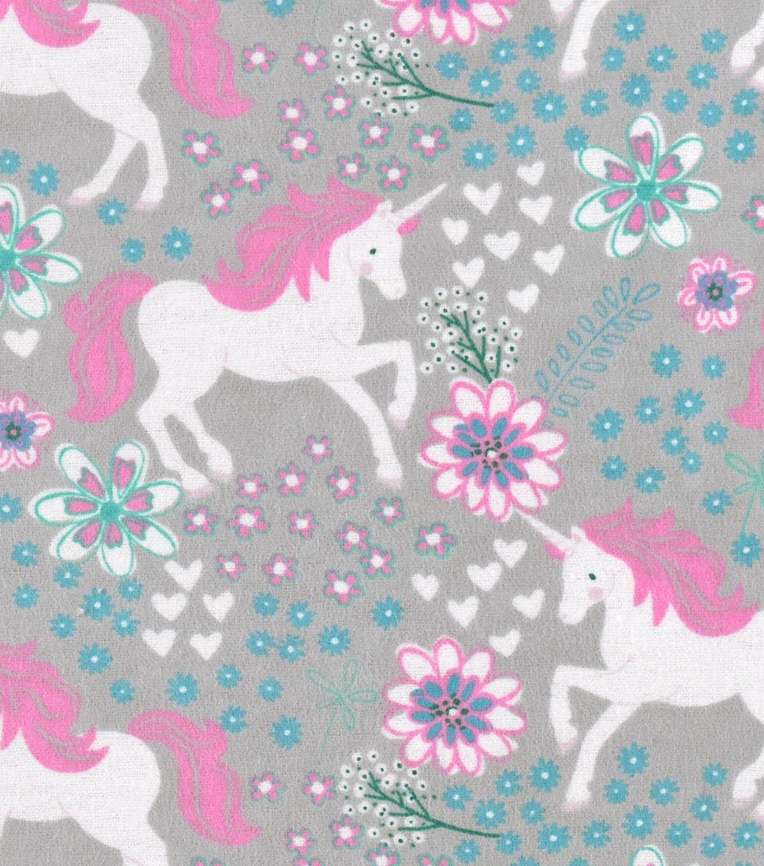 Snuggle Flannel Fabric -Magic Unicorns Gray | JOANN