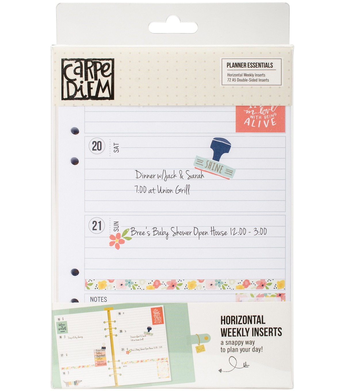 Planner Essentials Double-Sided A5 Inserts-Weekly Horizontal