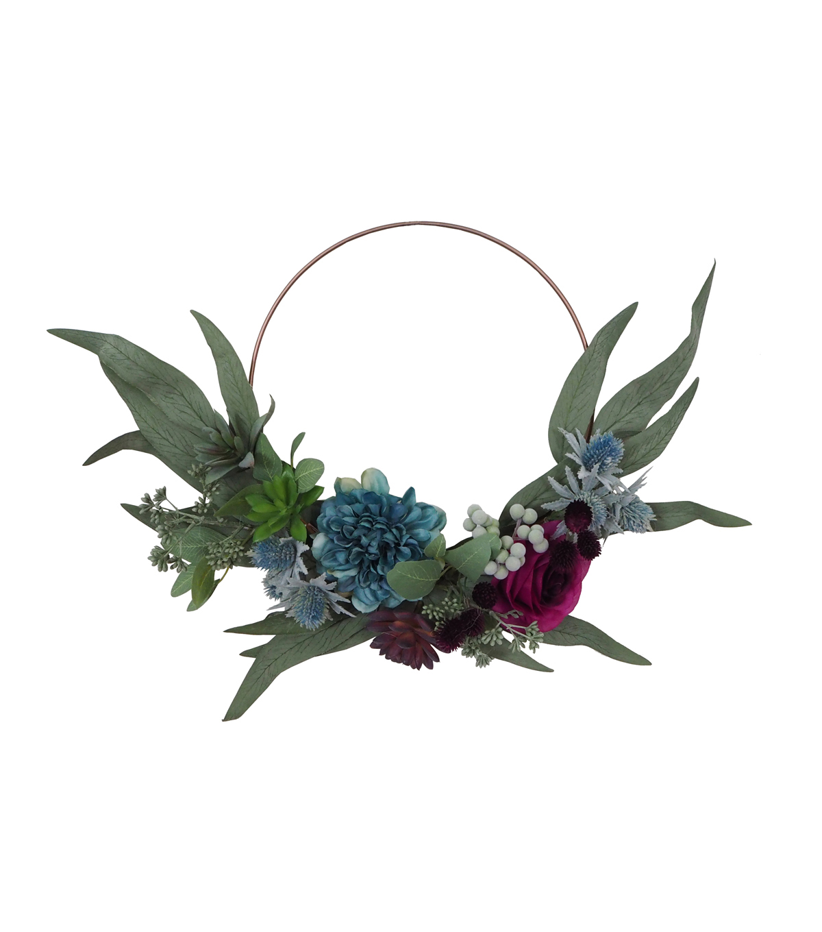 Blooming Autumn Small Succulent & Leaf Mini Wreath