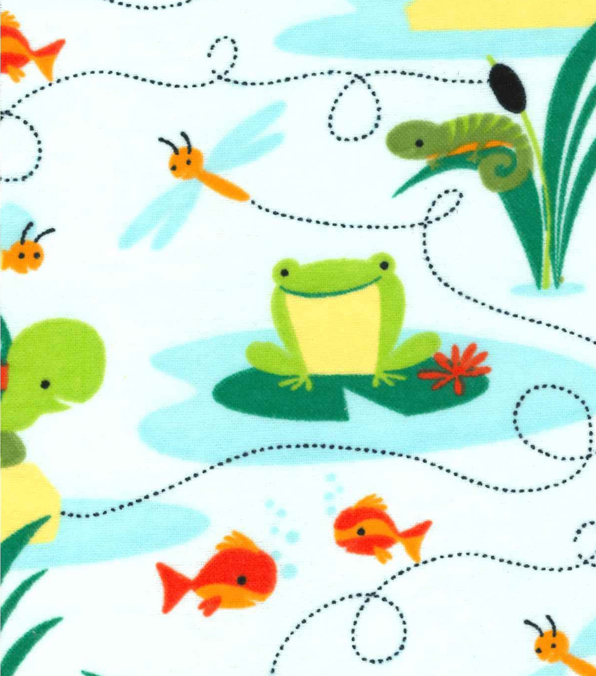 Snuggle Flannel Fabric -Turtles And Frogs