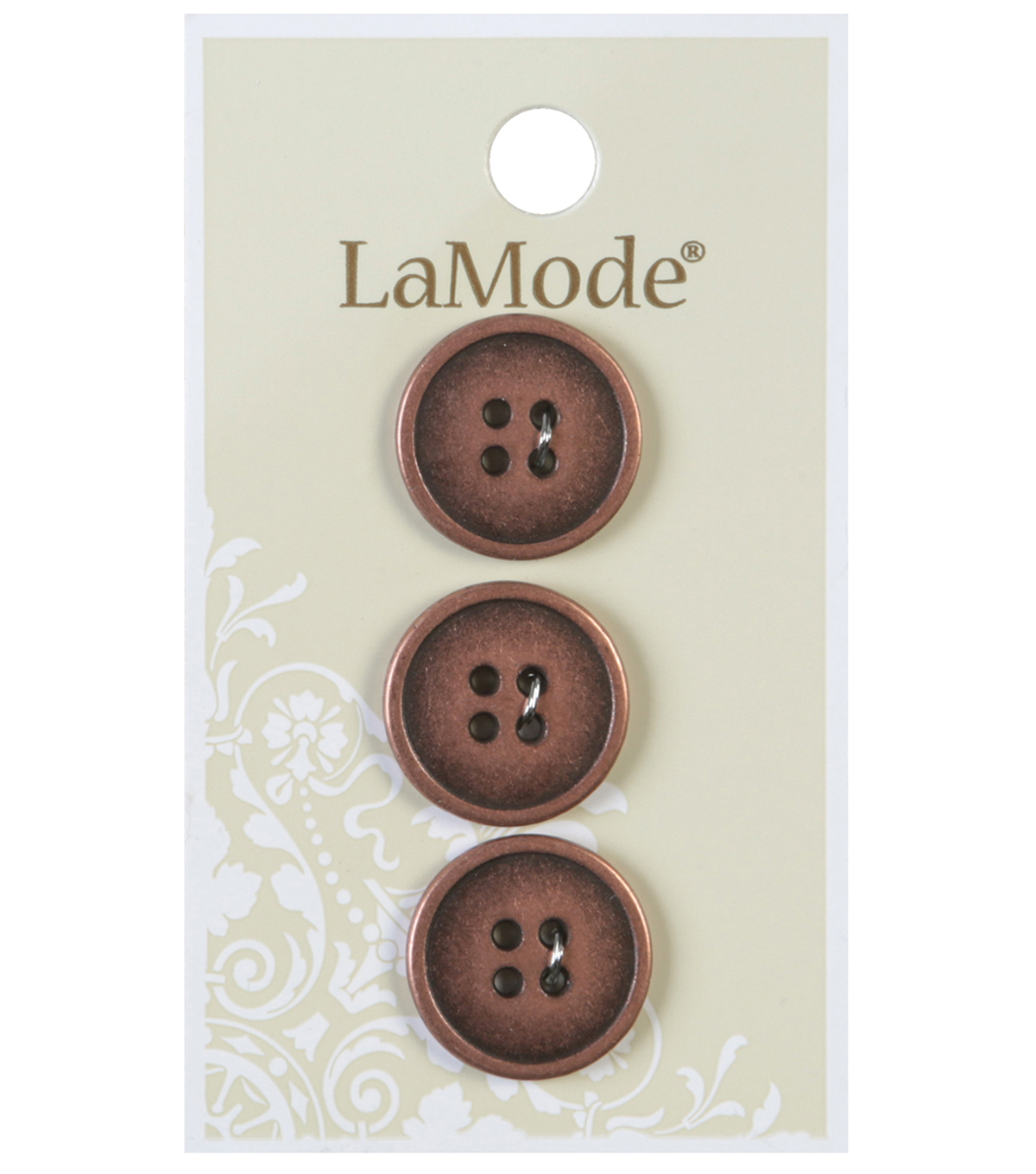 LaMode 4 Hole Antique Copper Metal Buttons 18mm