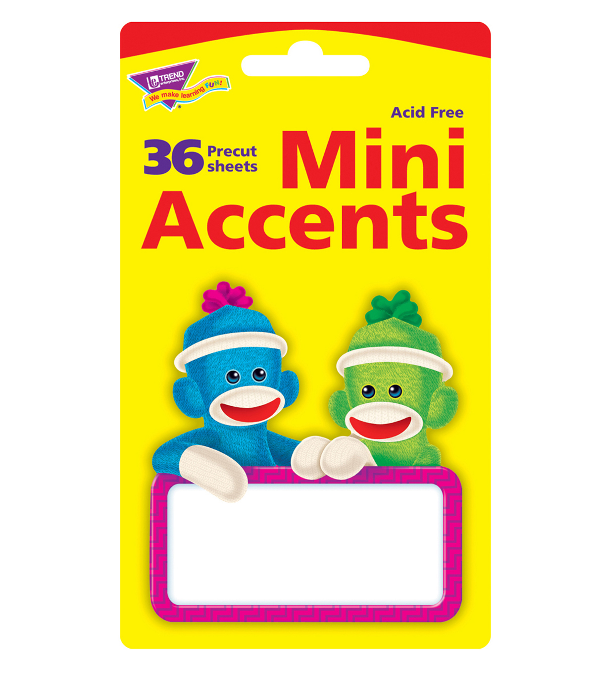 Sock Monkeys Signs Mini Accents, 36 Per Pack, 6 Packs