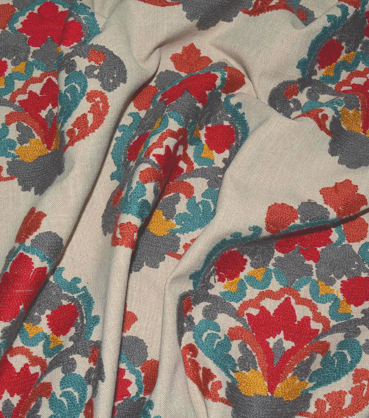 Waverly Upholstery Fabric 13x13\u0022 Swatch-Folk Lure Emb Jewel