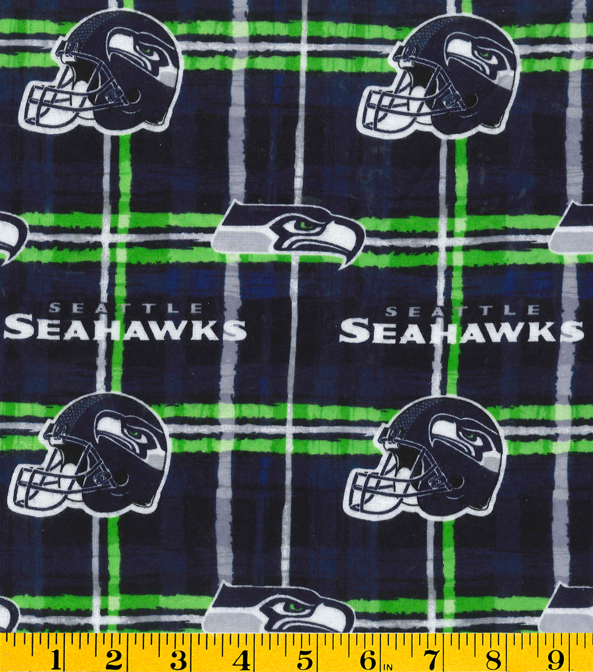 Seattle Seahawks Flannel Fabric -Plaid