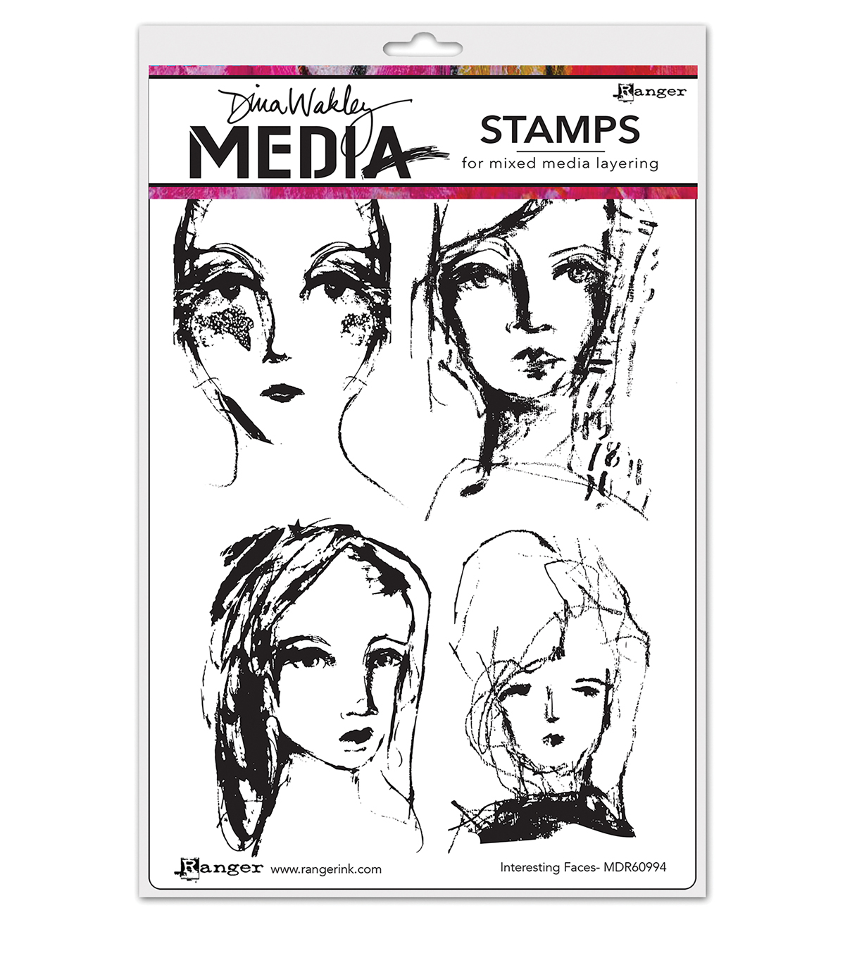 Ranger Dina Wakley Media Cling Stamps-Interesting Faces