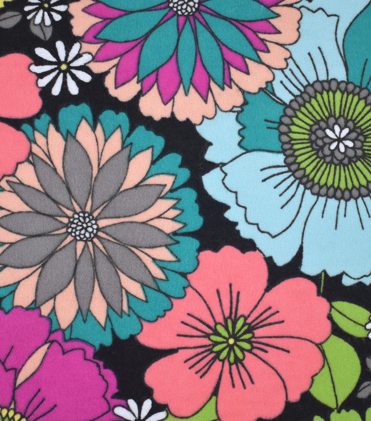 Snuggle Flannel Fabric 42\u0027\u0027-Vibrant Colored Flowers