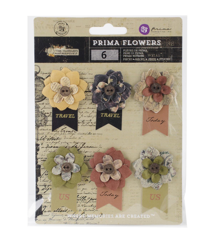 Time traveler flowers paper hard time 225 wbanner 6pkg joann prima marketing time traveleru0027s memories hard time paper flowers mightylinksfo