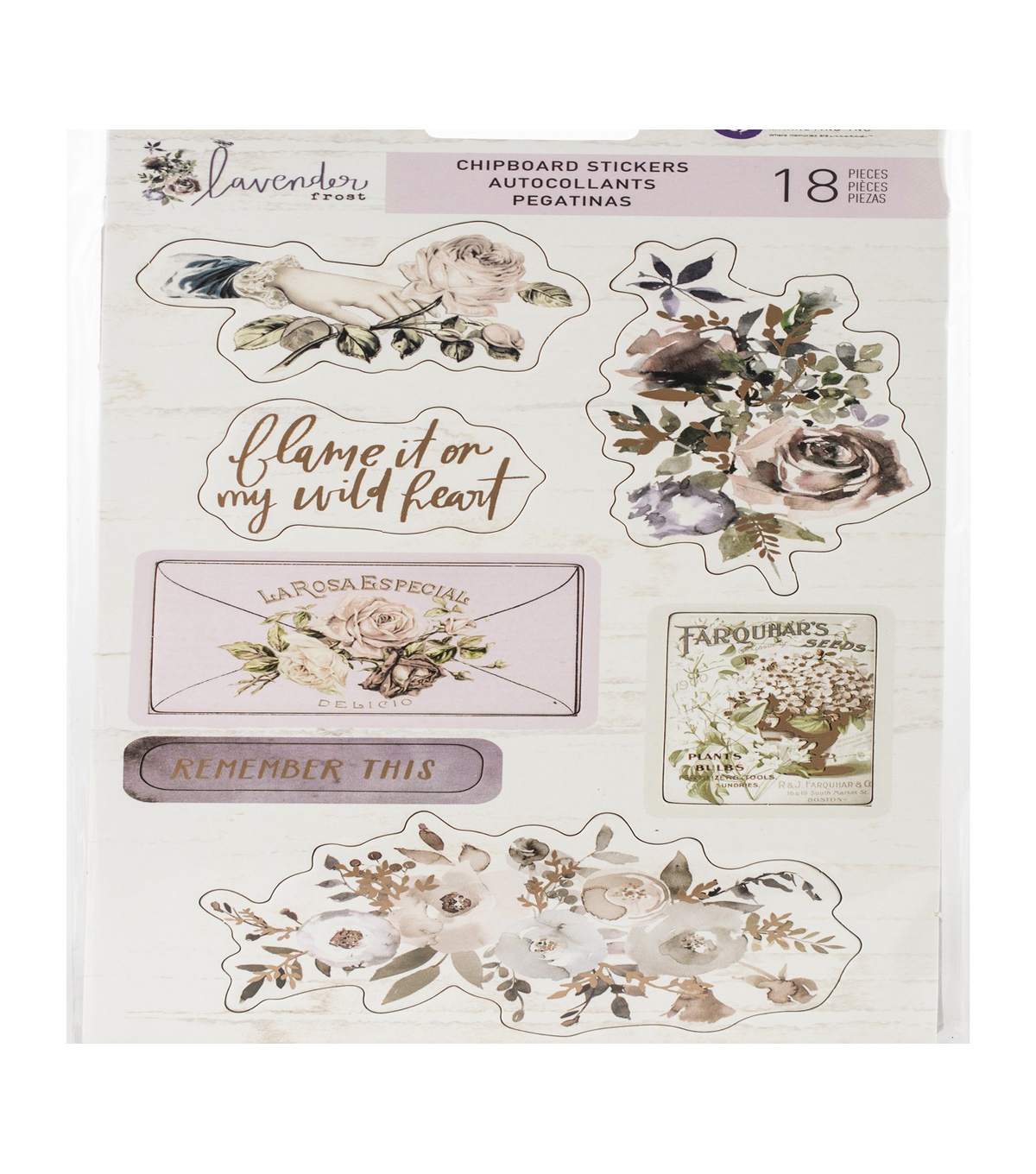 Lavender Frost Chipboard Stickers 5\u0022X8\u0022 2/Pkg-Icons W/Foil Accents