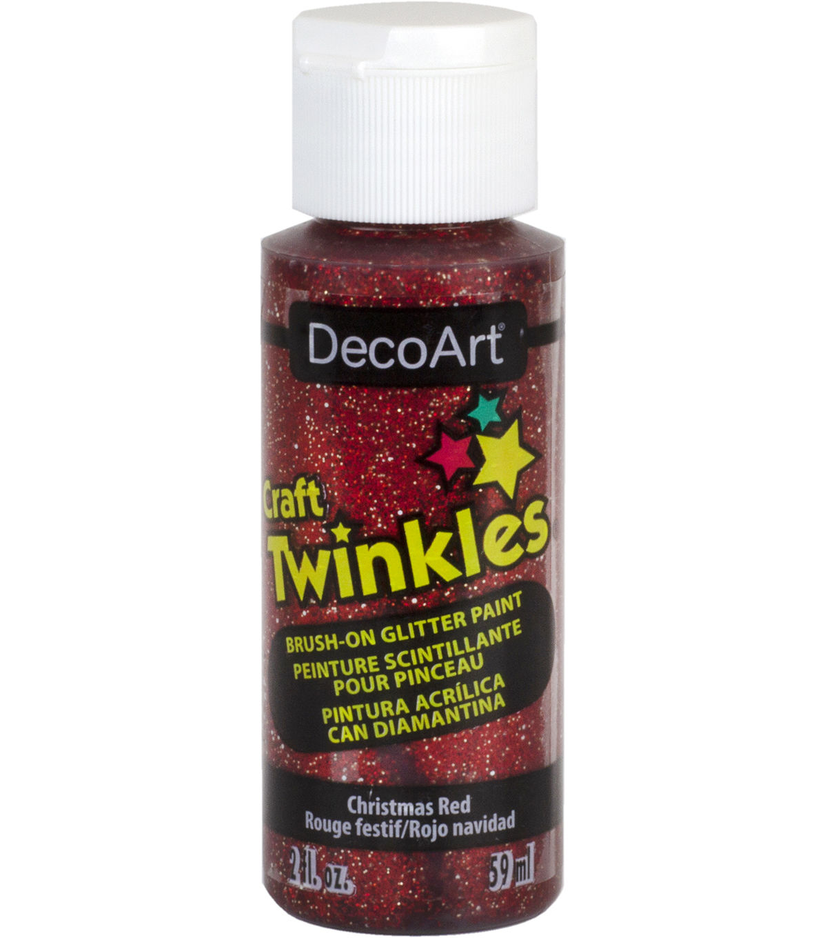 DecoArt Craft Twinkles 2 fl. oz. Brush-on Glitter Paint-Christmas Red