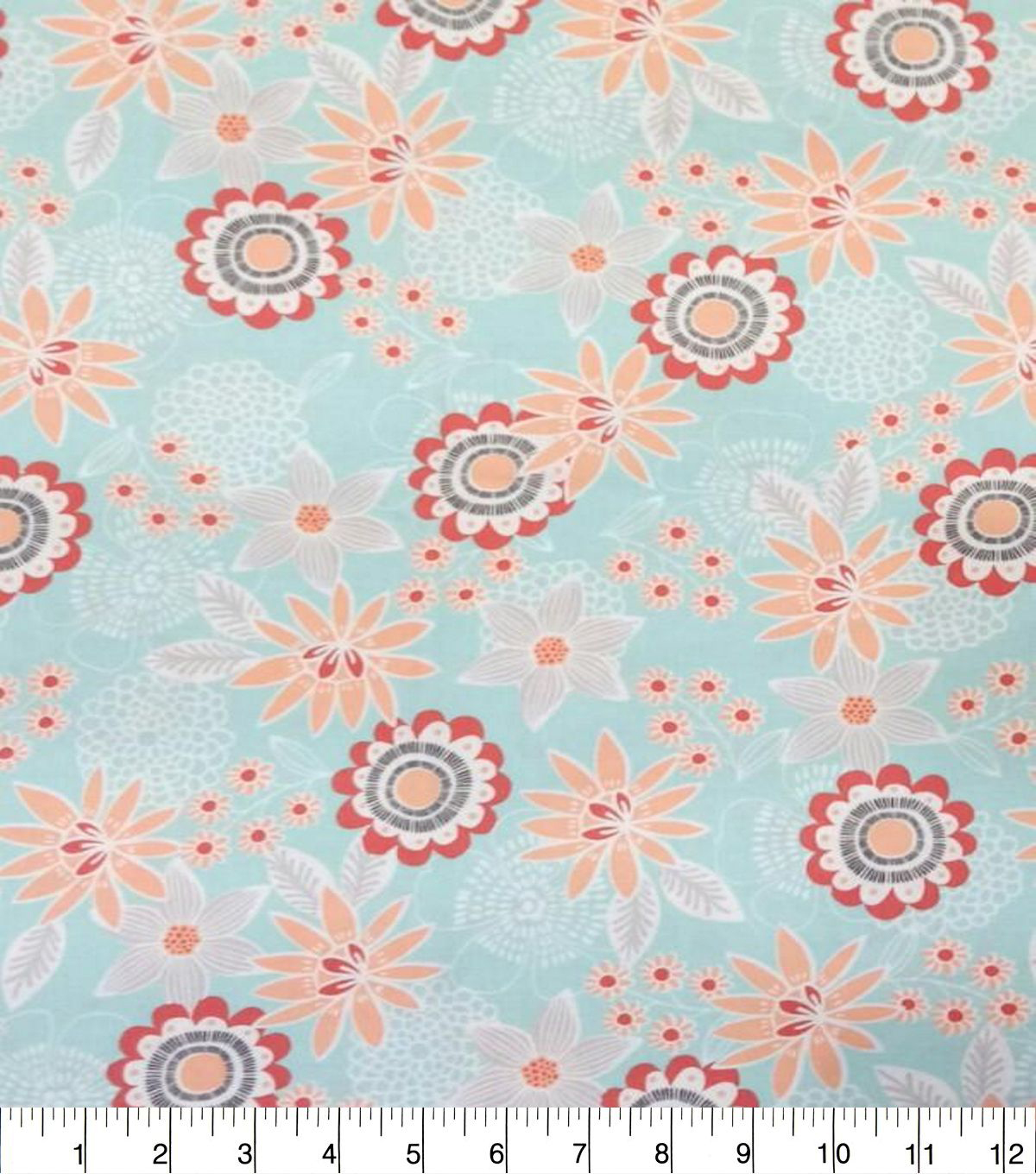 Quilter\u0027s Showcase Cotton Fabric-Large Floral Teal Coral