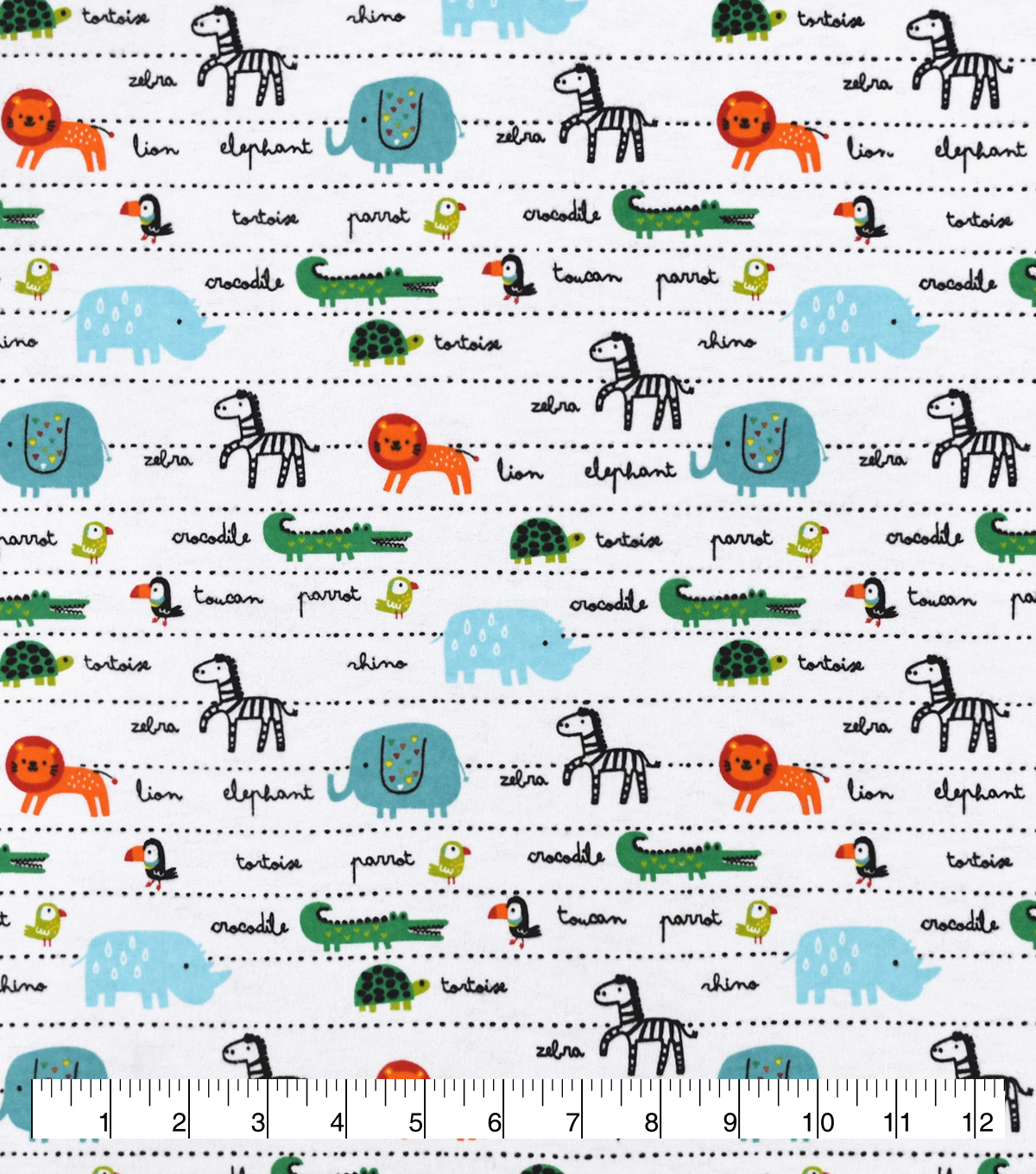Snuggle Flannel Fabric-Safari Animals In Line