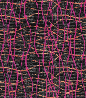 Modern Cotton Fabric -Dotted Wavy Lines Pink on Navy