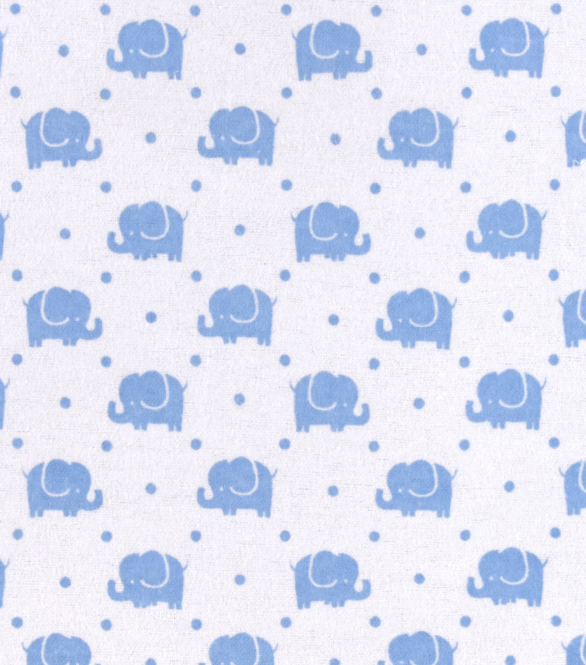 Snuggle Flannel Fabric -Blue Elephants Marching