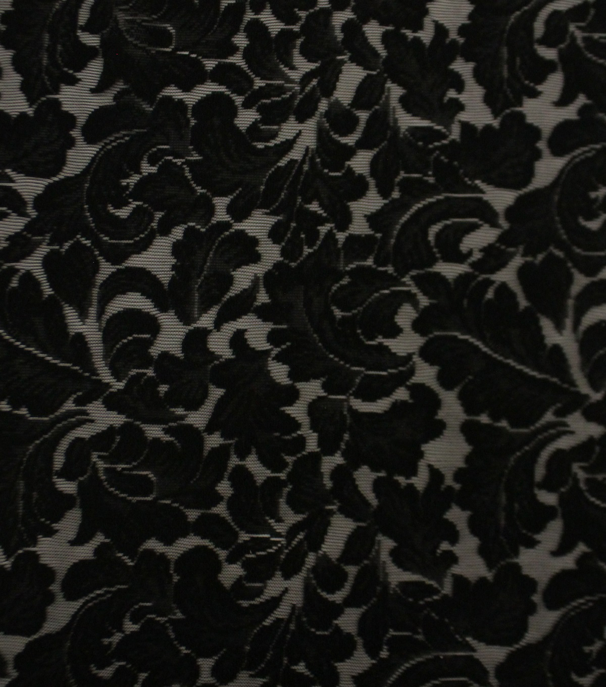 Knit Lace Fabric 50\u0027\u0027-Black Leafy