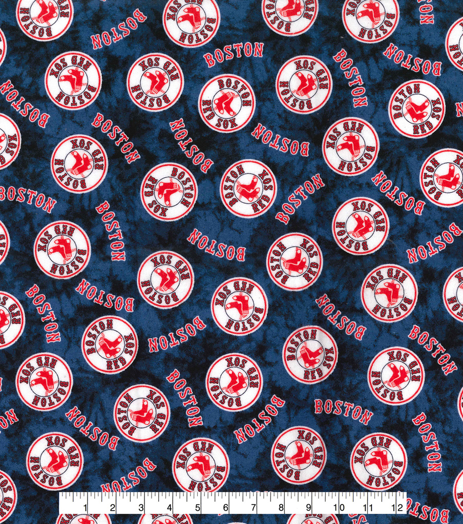 Boston Red Sox Flannel Fabric 42\u0022-Tie Dye
