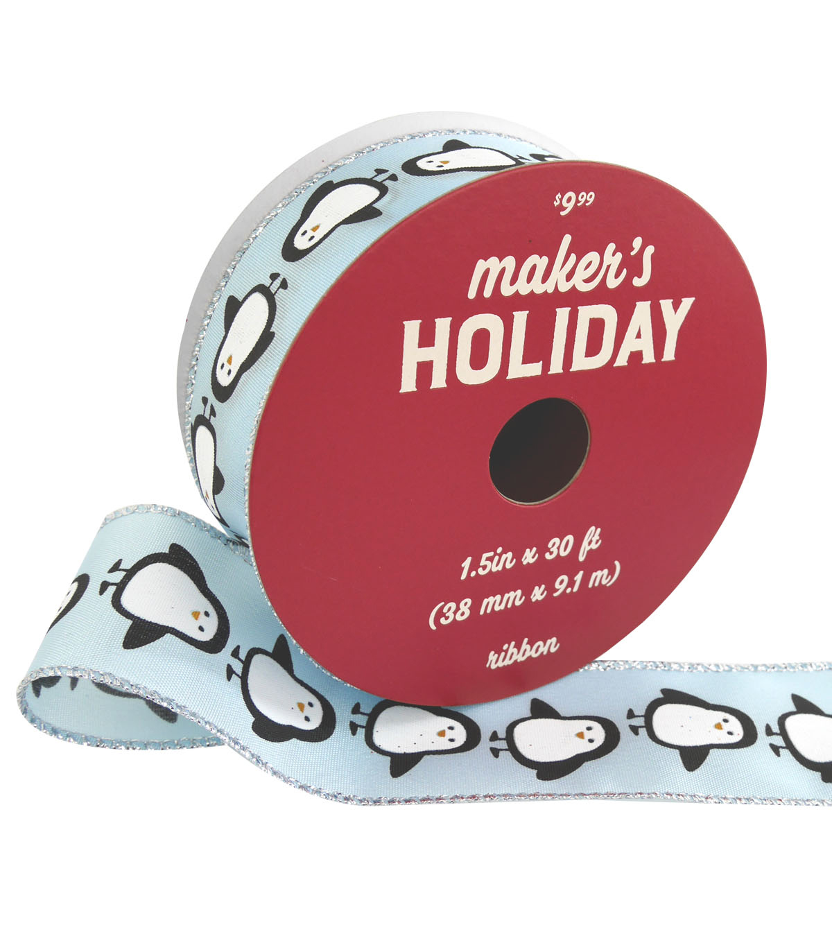 Maker\u0027s Holiday Christmas Ribbon 1.5\u0027\u0027x30\u0027-Penguins on Light Blue