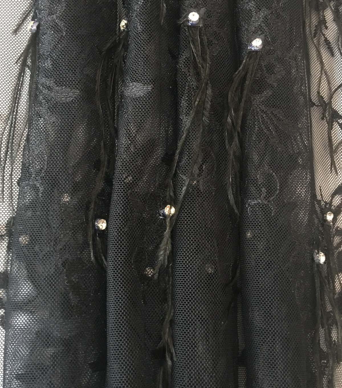 Gianna Hand-Embroidered Feather Mesh Fabric 55\u0022