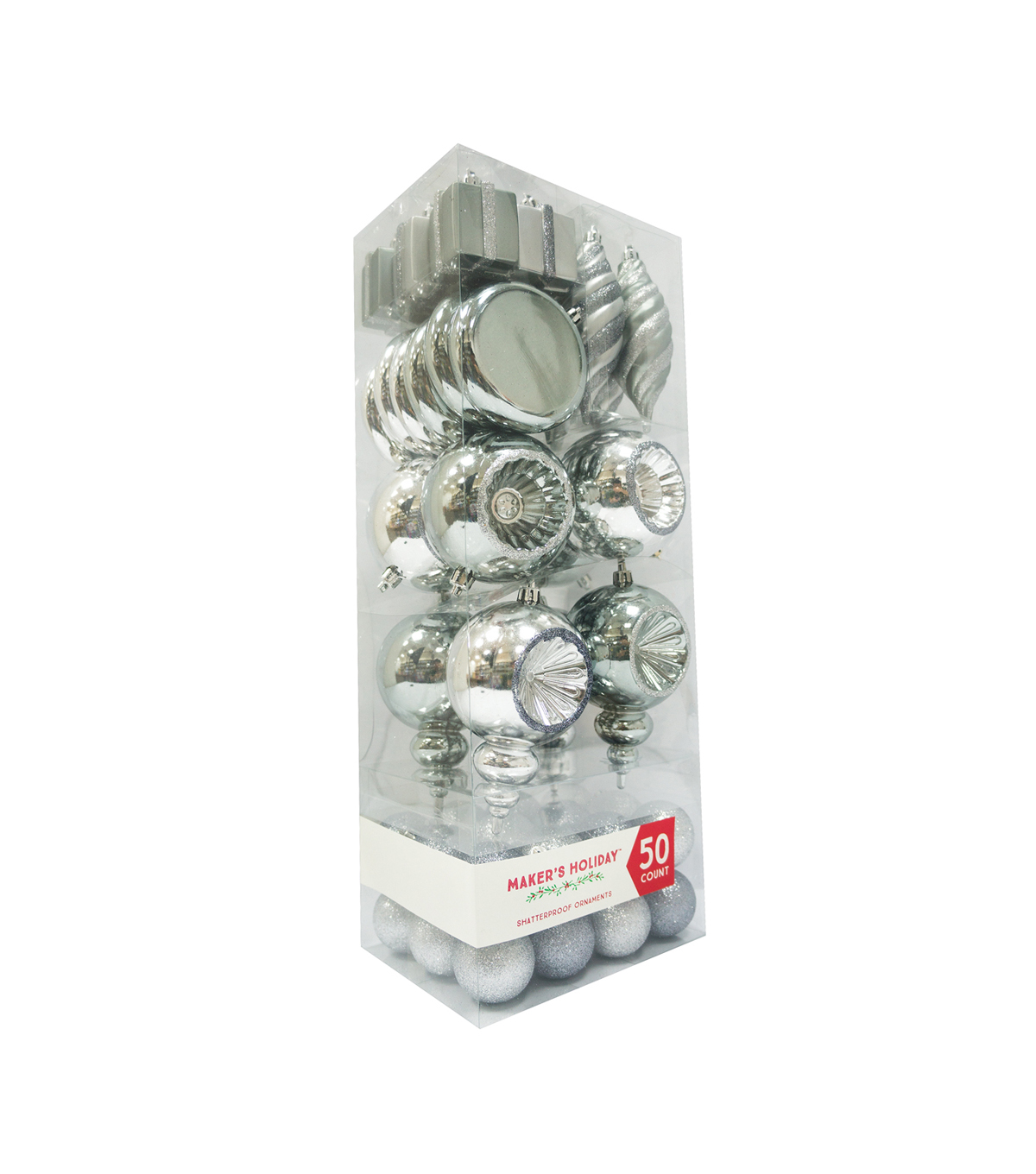Maker\u0027s Holiday 50ct Shatterproof Ornaments-Silver & Gray
