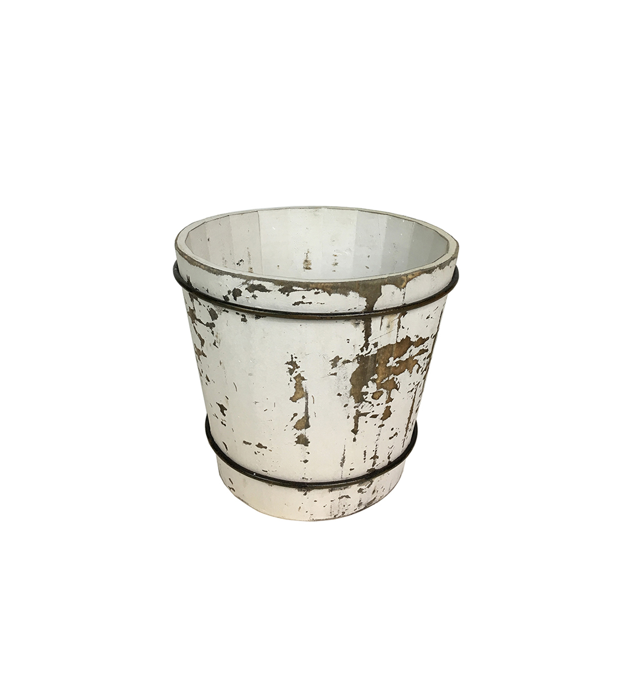 Blooming Holiday Farm Small Wood Barrel-Antique White