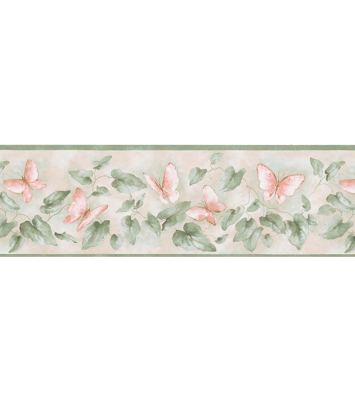 Butterfly Lily Pad Wallpaper Border, Green Sample