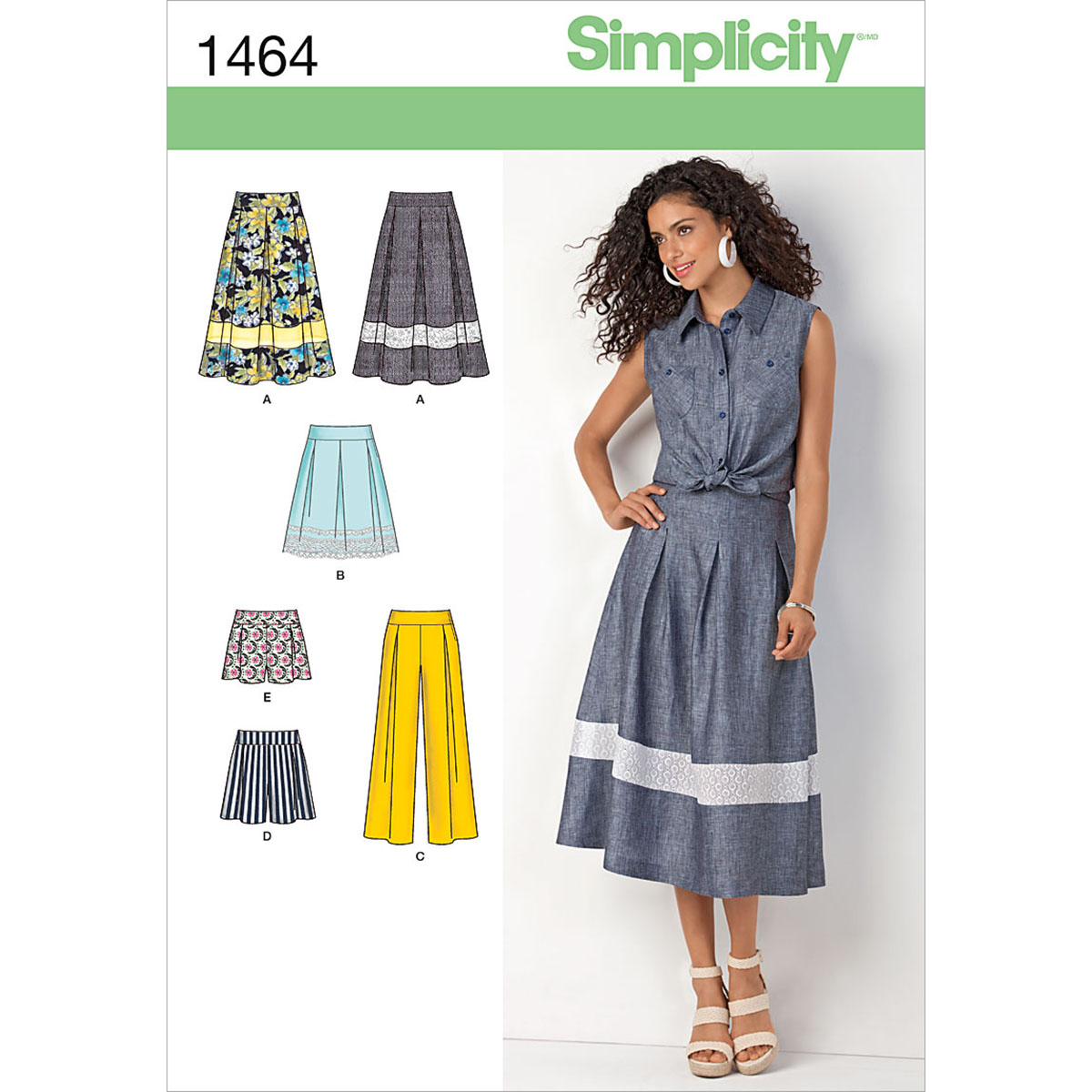 Simplicity Pattern 1464P5 12-14-16-1-Misses Skirts Pants