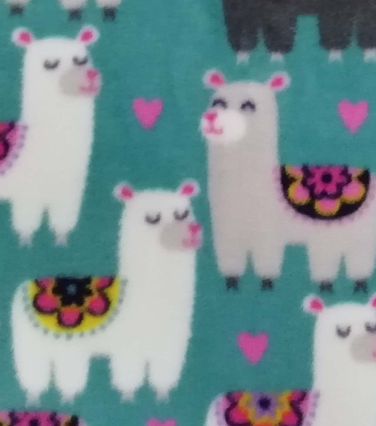 Anti-Pill Plush Fleece Fabric 58\u0022-Floral Llama