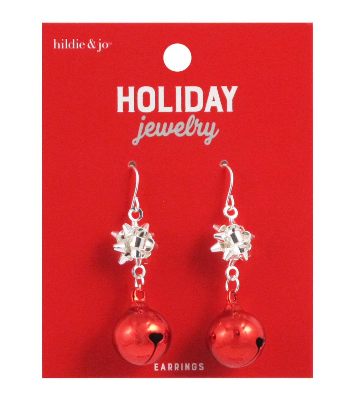 Hil Jo Holiday Jewelry Red Bell With Silver Bow Dangle Earrings