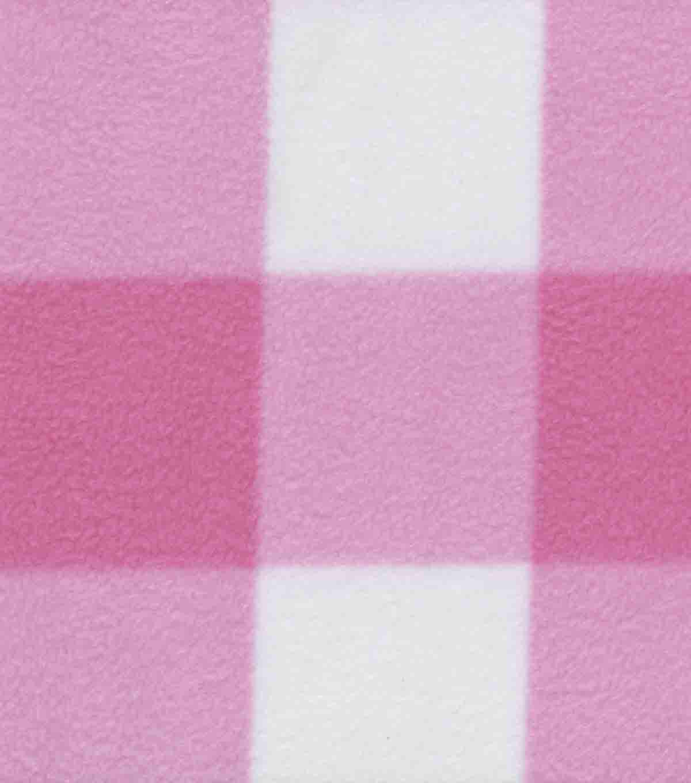 Anti Pill Fleece Fabric Bretagne Pink White Buffalo Check