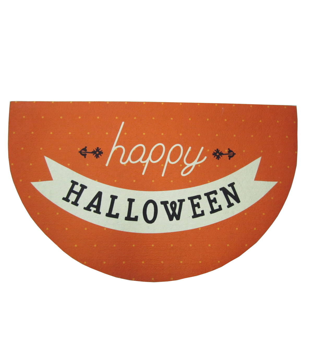 Maker\u0027s Halloween Rubber Half Circle Door Mat-Happy Halloween