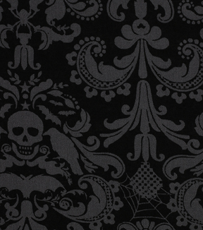 Halloween Cotton Fabric 43\u0022-Coffin Damask