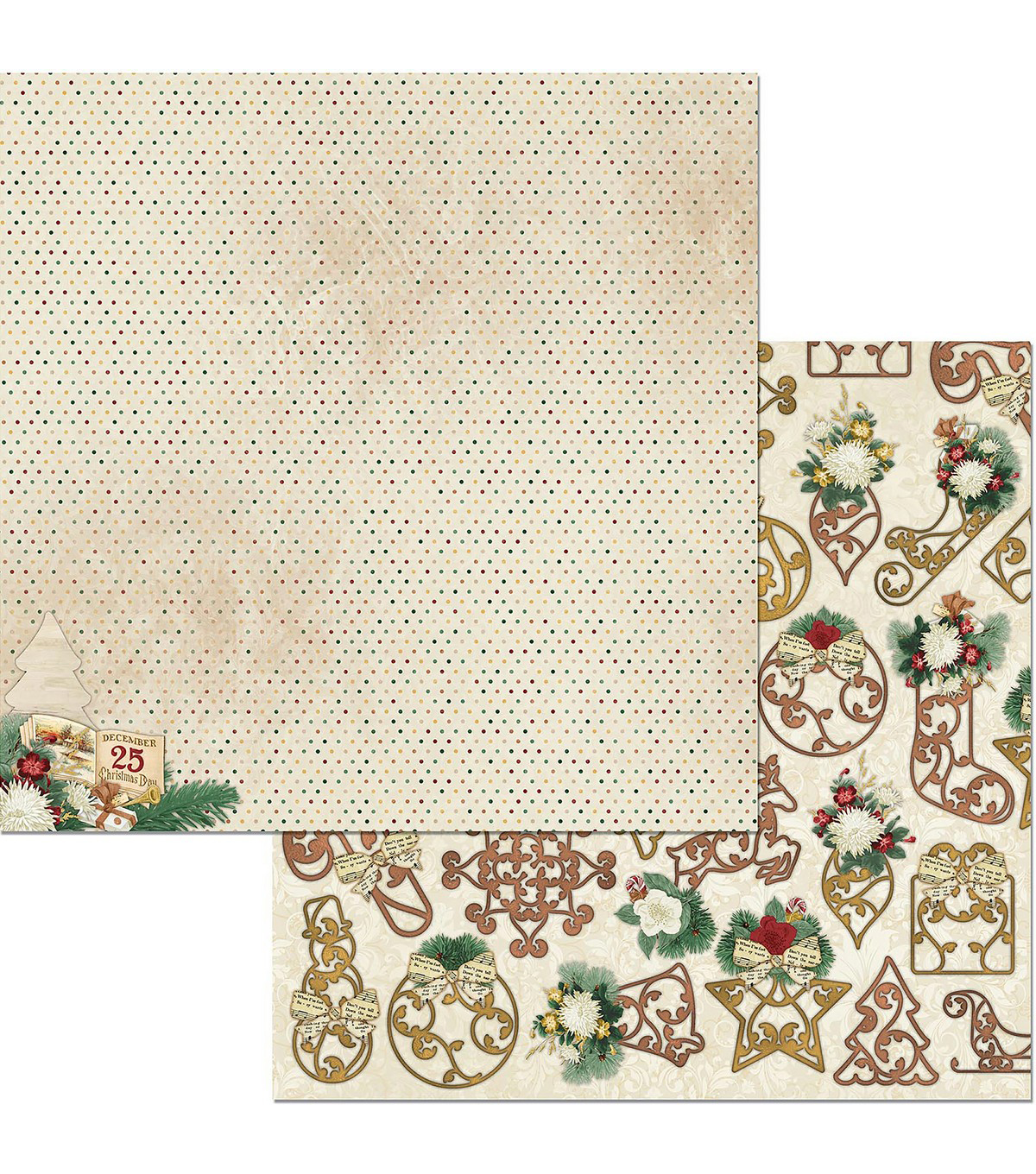 Yuletide Carol Double-Sided Cardstock 12\u0022X12\u0022-Christmas