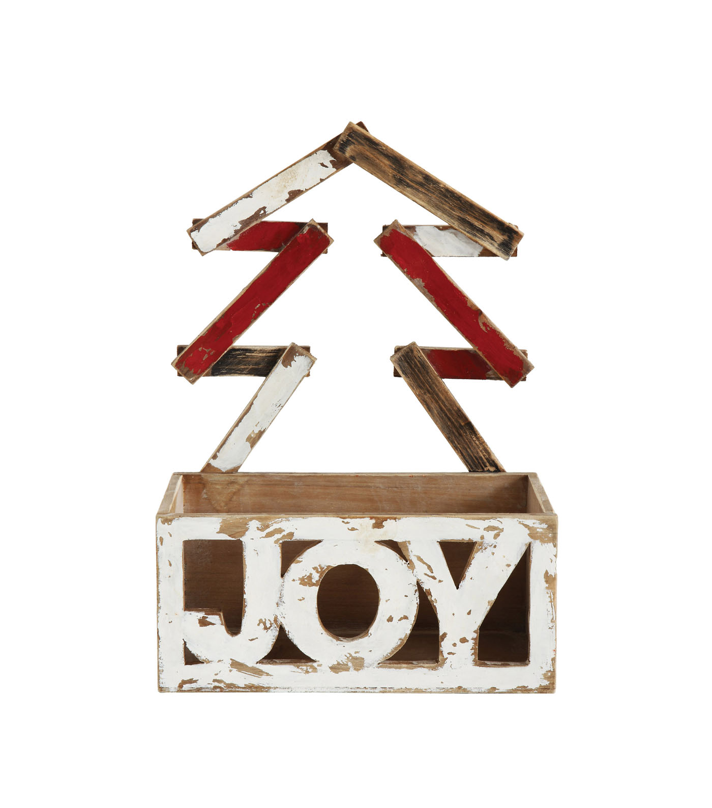 Christmas Wood Container with Tree-Joy