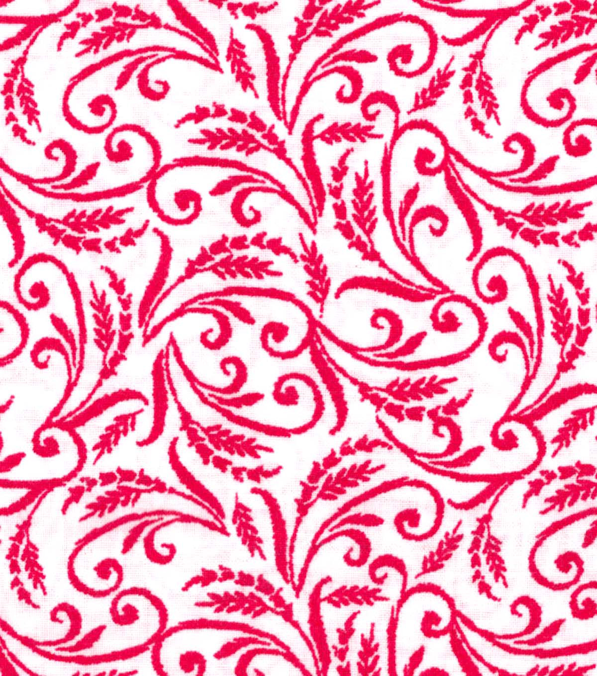 Quilter\u0027s Showcase Fabric -Raspberry Floral Scroll on White